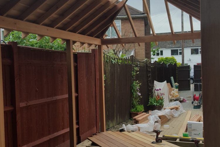 Infinity Carpentry & Building | Horley - Crawley & Gatwick Garden Iroko Decking and Pergola Development