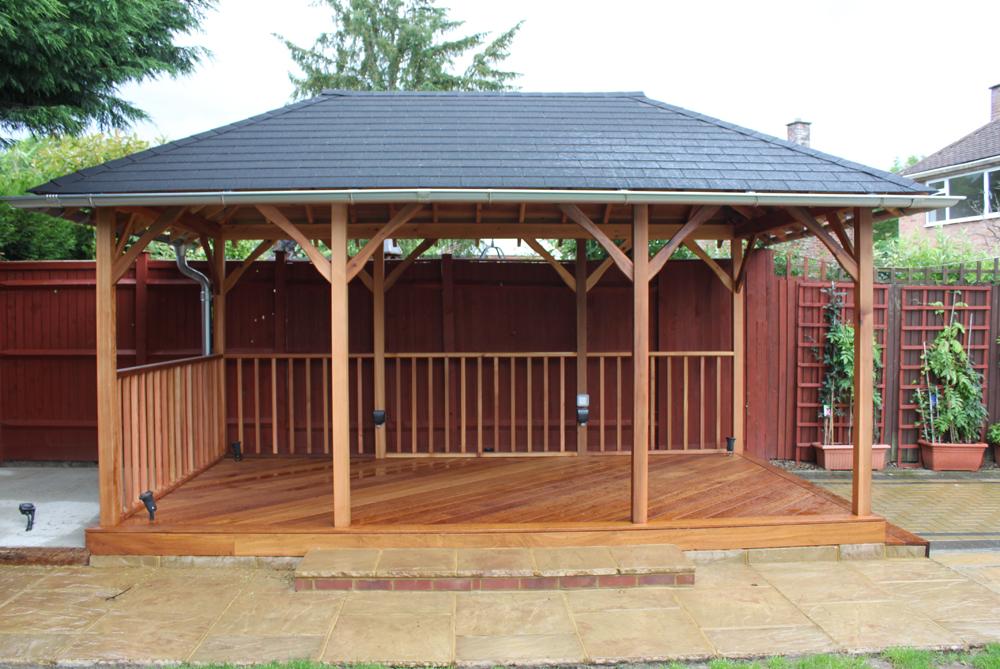 Infinity Carpentry & Building | Horley - Crawley & Gatwick Garden Iroko Decking and Pergola
